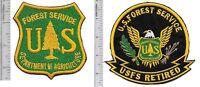 US Forest Service USFS Hotshot Wildland  Fire Crew & USFS Retired Patch g on gr