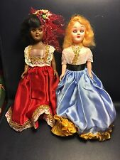 "2 Vintage 7"" Hard Plastic Dolls Sleep Eyes Africa Sweden Lot 4"