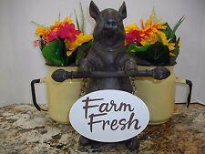 "11.5"" Pig Statue Holding ""FARM FRESH"" Sign~ Prim./Rustic/Country/Farmhouse Decor"