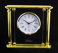 Pendulette réveil quartz Belcour TOSCANA en laiton doré et verre - neuve