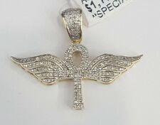 10K Yellow Gold Ankh Angel Wing Cross Pendant Charm Diamond Pave Men Iced