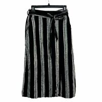 Gap Black Striped Linen Midi Wrap Skirt Size XS Belted Summer