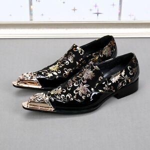 Mens Formal Dress Nightclub Metal Pointed Toe Floral Gold Printed Slip On Shoes