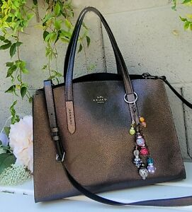 COACH Charlie Carrier graphite leather carryall Handbag Shoulder bag 31037 purse