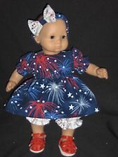 "Patriotic Fireworks 4th of July Dress 15"" Doll Clothes Made To Fit Bitty Baby"