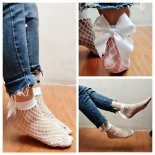 Ankle Ruffle Big Bowknot White Fishnet Lace Short Socks