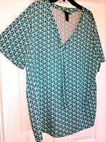 Womens Maggie Barnes Shirt Blouse Plus Size 1X Blue Tie