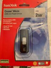 Genuine SanDisk Black Cruzer Slider Micro 2.0 GB USB Flash Drive Only **NEW**