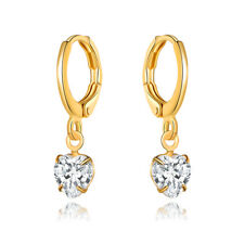 Sevil 18K Gold Plated Heart Drop Earrings With Swarovski Elements