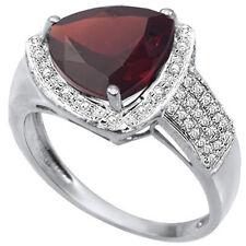 LOVELY 3.56 CTW GENUINE DIAMOND & GARNET PLATINUM OVER 925 STERLING SILVER RING