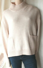Marks and Spencer Cream Wool Chunky Surdimensionné Boxy Tricot Poches Pull Taill...
