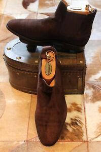 JOHN LOBB 'CHESLAND' Brown Suede Chelsea Boots - UK 8E
