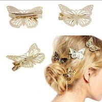 2pcs Fashion Women Girls Gold Butterfly Barrette Hair Clip Hairpin Accessor RA