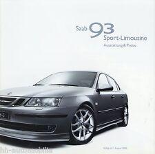 Liste de prix saab 93 sport-BERLINE 1.8.02 prix 2002 autopreisliste auto voitures