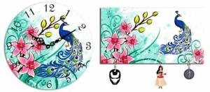 Combo Of Peacock Wooden Wall Clock & Wall Mounted Key Holder Wall Decoration