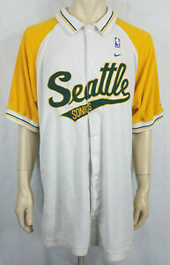 Vintage Nike Seattle Super Sonics embroidered snap button warm up shirt mens XL