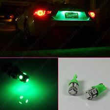 2 pc Ultra Green LED License Plate Light Bulbs 10-LED Wedge Push Type