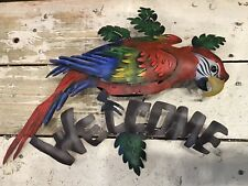 Parrot Welcome Sign - Tropical Home Decor - Metal Handcrafted in Mexico