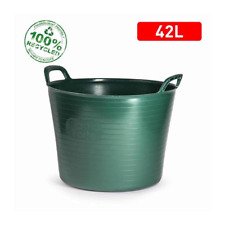 42L FLEXI TUB BUCKET PLASTIC FLEXIBLE TUBS STORAGE CONTAINER FEED TRUG GREEN UK