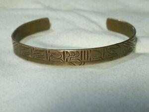 ...Vintage Copper Unusual Engraved Design Cuff Bracelet...Large Size...