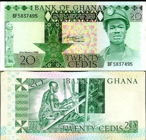 Ghana 20 Cedis 1982 P 21 UNC