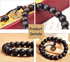 Buddhist Tibetan Shamballa Jewelry Rope Wood Beaded Bracelet for Men and Women