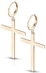 *NEW & SEALED - High Quality Rose Gold Hoop Cross Pair Of Earrings