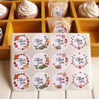 60/120Pcs Thank You Round Label Flower Sealing Self-adhesive Packing Stickers
