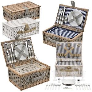 Casa Pro Picknickkorb Kühltasche Besteck Geschirr Gläsern Picknick Weiß Blau
