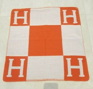 Orange Check H Wool Square Hermes Nordic Style Cushion Cover 65CM Extra Large
