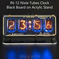 IN-12 Nixie Tubes Clock on Acrylic Stand with Sockets 12/24H 4 Tubes GOLDBLACK