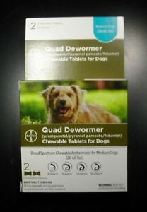 Bayer Quad Dewormer for Medium Dogs 26-60 lbs 2 Tablets Exp. Mar 2023 or Better