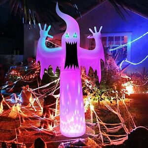 12 Ft Halloween Inflatable Blow Up White Ghost Lighted Outdoor Yard Decoration