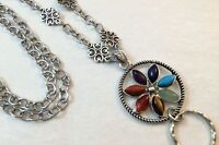 Chakra Flower  Lanyard  Badge ID Holder Silver Chain-Breakaway Option