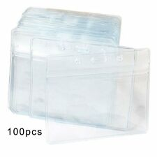 Fushing 100Pcs Clear Plastic Horizontal Name Tag Badge ID Card Holders
