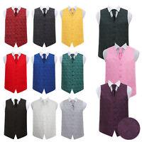 "DQT Woven Floral Paisley Mens Boys Wedding Waistcoat Cravat Set 24""-50"""