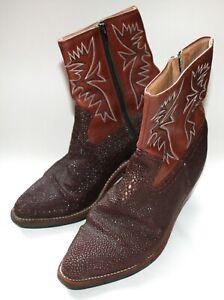 Unisex HANDMADE Sting Ray Leather Cowboy Boots Zip-Up Closure Size: UK7 US8 EU41