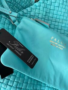 FALOR woven leather handbag tote w/ pouch AQUA F7349 NWT authentic teal blue