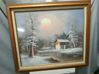 "Vintage Oil On Canvas Framed Painting Signed H Wilson Original Winter 29"" x 24"""