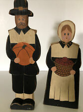 Homemade Wooden Pilgrims Painted Thanksgiving Holiday Table Decor