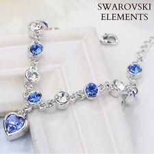 gourmette bracelet authentiques Swarovski® Elements bleu saphir charm coeur