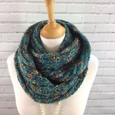 Womens Winter Infinity Snood Scarf Cowl Wrap Chunky Knit Jade Green Mix Gifts