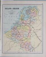 1898 Karte Holland & Belgien Zeeland Brabant Flandern Antwerpen Utrecht