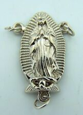 "Our Lady Guadalupe Spanish Icon Virgin Mary Madonna 1"" Silver Rosary Centerpiece"