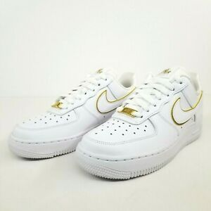 Nike Wmns Air Force 1 '07 ESS Icon Clash White Gold AO2132-102 New Womens No Lid