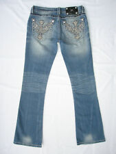 Miss Me Signature Bootcut Jeans Winged Cross Rhinestone Size 27