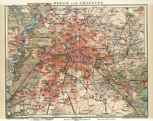 1912 GERMANY BERLIN CITY PLAN and SUBURBS Antique Map dated