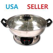 KAIZEN Electric Shabu Shabu Hot Pot W/Divided Pot Mongolian Hot Pot W/Glass Lid