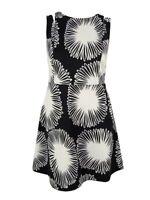 Kensie Women's Floral Print Fit & Flare Dress (S, Black/White)