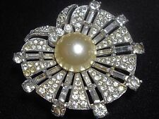 """Vintage Trifari brooch sterling silver """"Dreamshell"""" pearl shell rhinestone fur"""